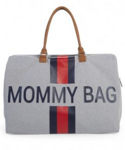 Torba Mommy Bag Big Canvas Off White Stripes green-red