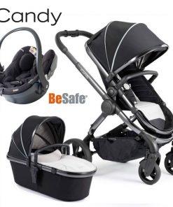 Otroški voziček 3v1 iCandy Peach, Beluga, kromirano ogrodje + Besafe® iZi Go Modular™, Fresh Black Cab