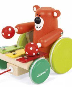 Otroška lesena igrača JANOD ZIGOLOS Medvedek s ksilofonom na vrvici_1