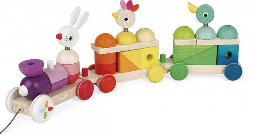 Otroška lesena igrača JANOD ZIGOLOS Velik barvit vlak na vrvici_1_0