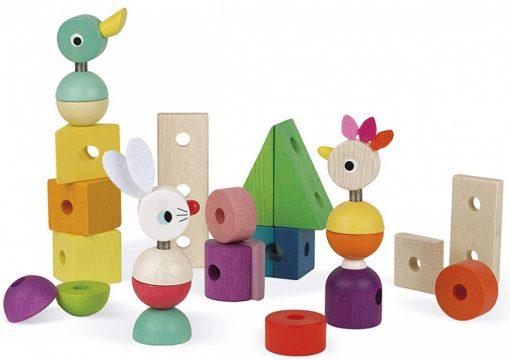 Otroška lesena igrača JANOD ZIGOLOS Velik barvit vlak na vrvici_2_0