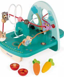 Otroška lesena igrača JANOD_Aktivnostna spirala Zajček