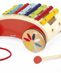 Otroška lesena igrača JANOD_Ksilofon na kolesih_1_0