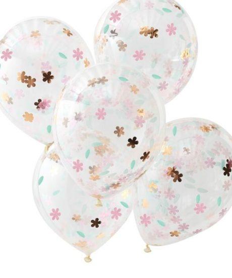 Ginger Ray® Baloni s konfeti - Ditsy Floral - 5 kosov