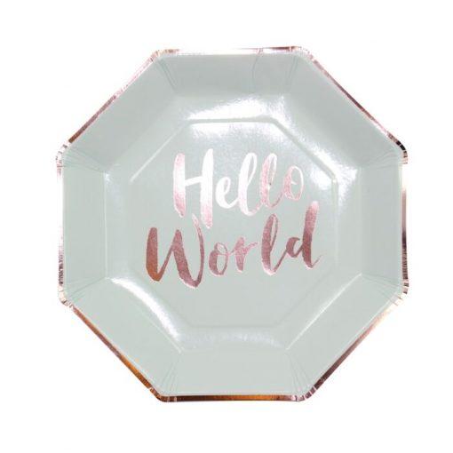 Ginger Ray® Krožniki - Hello World - 8 kosov