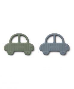 LIEWOOD Set silikonskih grizal Geo - Car Faune Green/Blue Wave