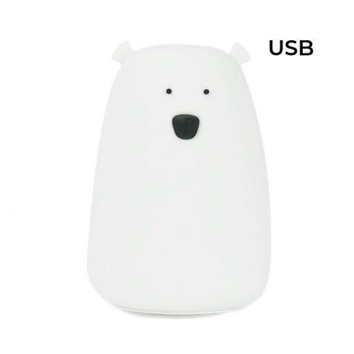 Rabbit&Friends Mehka Lučka Medvedek - Bela - USB polnjenje
