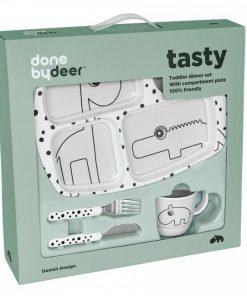 Done by Deer - jedilni set za malčke Happy dots, grey